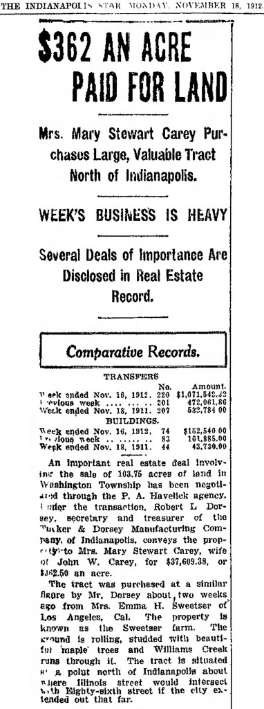 November 18, 1912 item in The Indianapolis Star details the purchase of 103.75 acres by Mary Stewart Carey (scan courtesy of newspapers.com)
