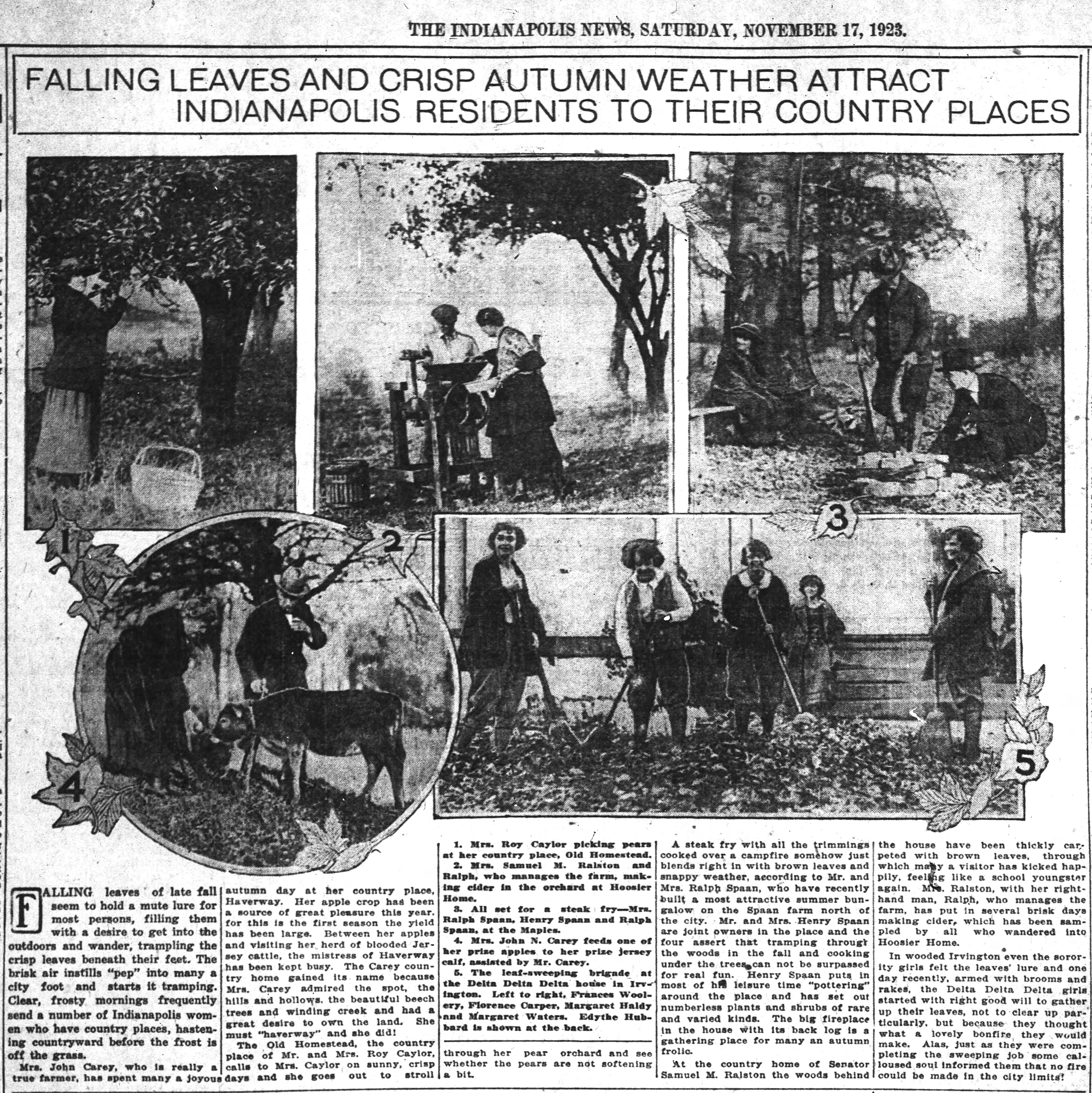 1923 Indianapolis News article described activities at the summer homes of several city residents (scan courtesy of newspapers.com)