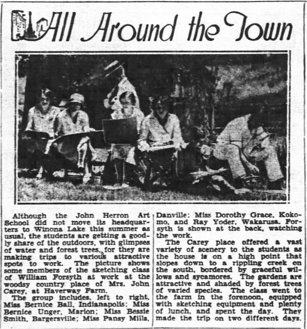 The July 14, 1931 Indianapolis News reported that Herron Art School students spent time at Haverway Farm sketching (scan courtesy of newspapers.com)