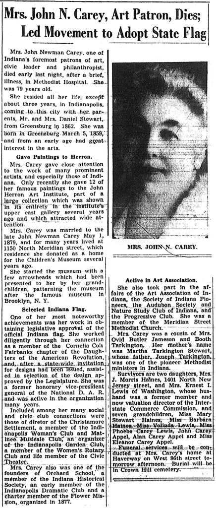 The report of Mary Stewart Carey's passing appeared in the Indianapolis Star on June 15, 1938 (scan courtesy of the Indiana State Library) CLICK TO ENLARGE