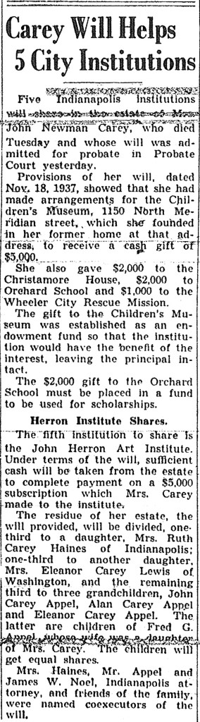 The contents of Mary Stewart Carey's will were announced on June 18, 1938 (Indianapolis Star scan courtesy of Indiana State Library)