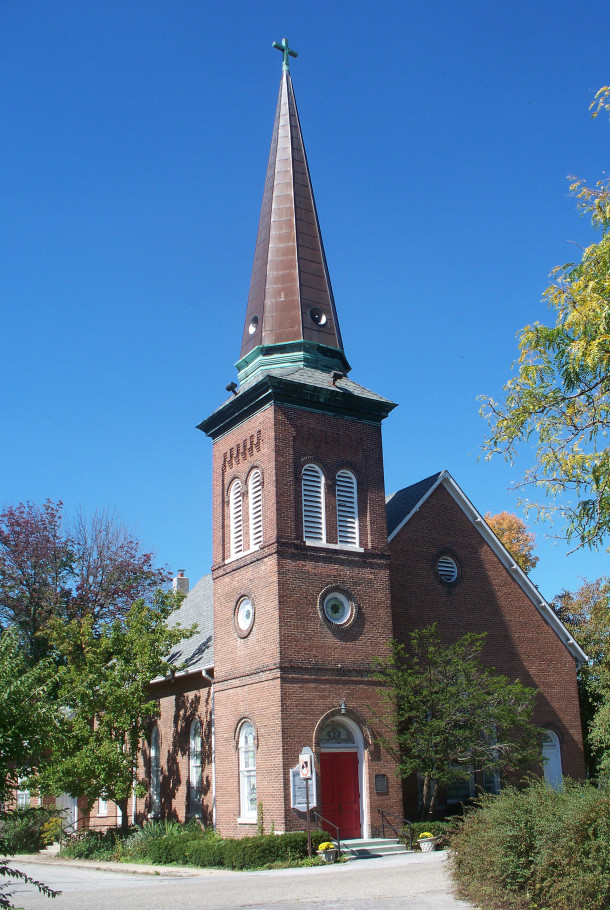 Salem Evangelical Lutheran Church at 72nd and Pollard Streets was completed by 1880 (2014 photo by Sharon Butsch Freeland)