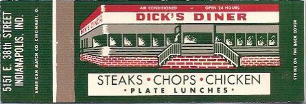 Circa 1960s matchbook cover for Dick's Diner