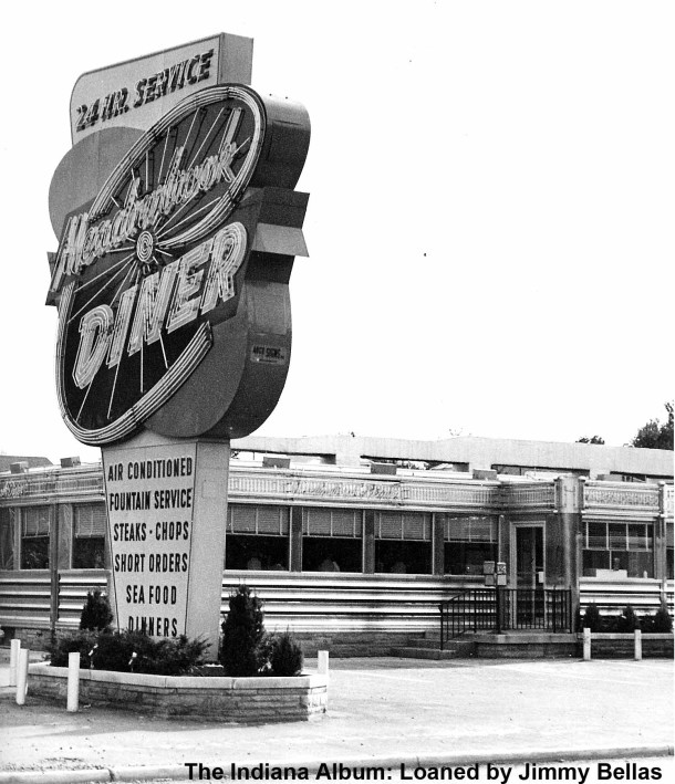 """Jimmy Bellas, son of the original owner, recalled that the sign was very expensive. It featured multi-fluorescent colors with timed """"chasing"""" lights with a burst of color emitting from the center. (The Indiana Album: Loaned by Jimmy Bellas)"""