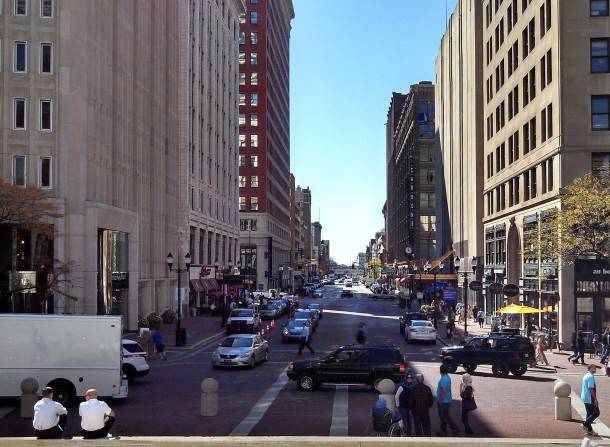 100 block of N. Meridian Street looking south from Monument Circle (Photo by Joan Hostetler, 25 September 2014)