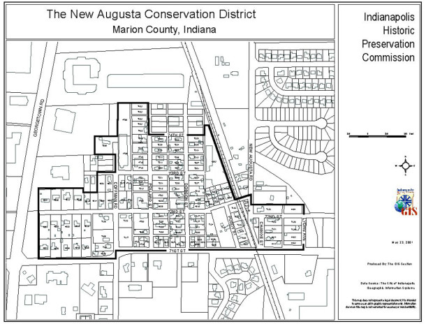Map showing the boundaries of the New Augusta Conservation District adopted by the City of Indianapolis in 1999 (courtesy of the Indianapolis Historic Preservation Commission)