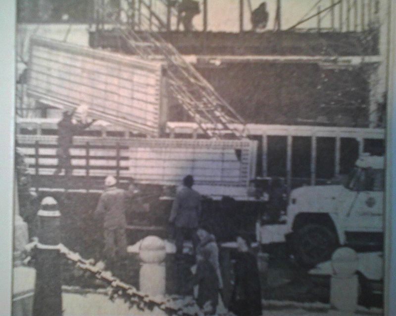 Workers dismantle the marquee in 1983 during the restoration (courtesy Indiana State Library)