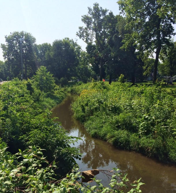 Spades Park straddles Pogue's Run, a tributary of the White River.