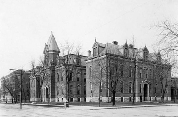 Shortridge High School, then located in the 500 block of North Pennsylvania Street, was the site of the early Music Memory Contest finals (W. H. Bass Company Collection, Indiana Historical Society)