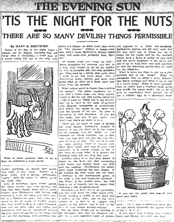 Article that appeared in The Evening Sun on October 31, 1913 (scan courtesy of the Indianapolis Public Library)