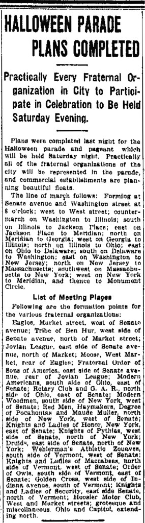 October 29, 1914 article in The Indianapolis Star discussed parade plans (scan courtesy of newspaperarchive.com)
