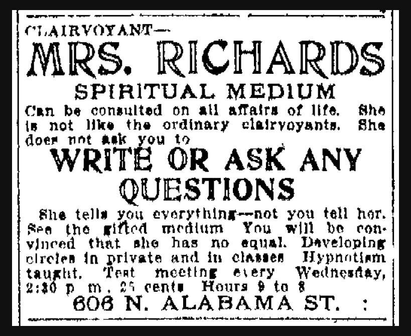 Sunday Adverts: Indy Soothsayers 100 Years Ago