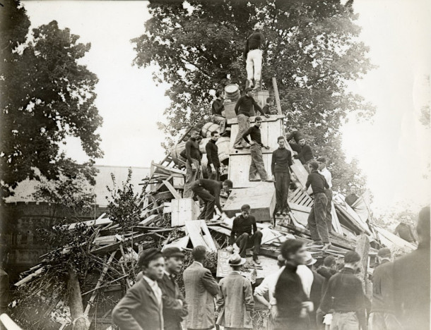 1914 bonfire as it was being erected (image courtesy of Princeton University archives)