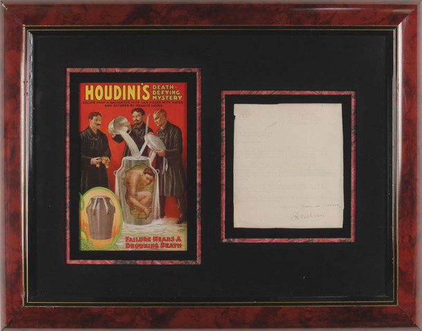 Ebay find: Handwritten letter to friend and fellow magician T. Nelson Downs, discussing his exposure of fake medium George Renner, matted and framed with a reproduced Houdini poster. The letter was written during Houdini's visit to Indianapolis in March of 1925.