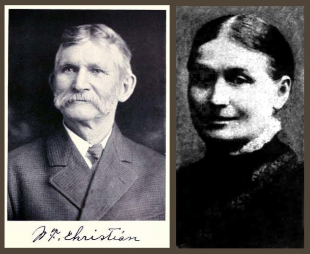 Portraits of Wilmer F. and Margaret (Moore) Christian. (From Indiana and Indianans: A History of Aboriginal and Territorial Indiana and the Century of Statehood by Jacob Piatt Dunn, 1919, opp. p. 1512 and the Indianapolis News, June 13, 1931, p. 5)
