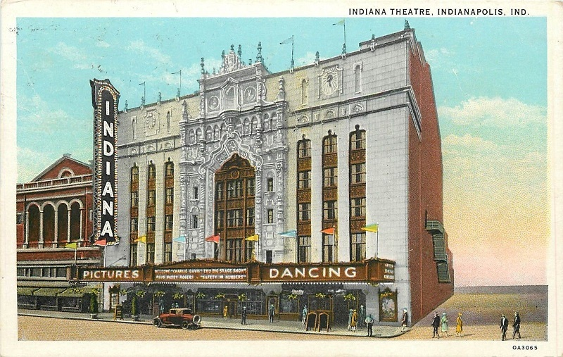 This postcard art shows dancing being advertised on the marquee of the Indiana Theater. The building on the left operated as the Capitol Theater until its closure in 1935. The artist chose to omit the Claypool Hotel that would have been to the immediate right. (courtesy ebay)