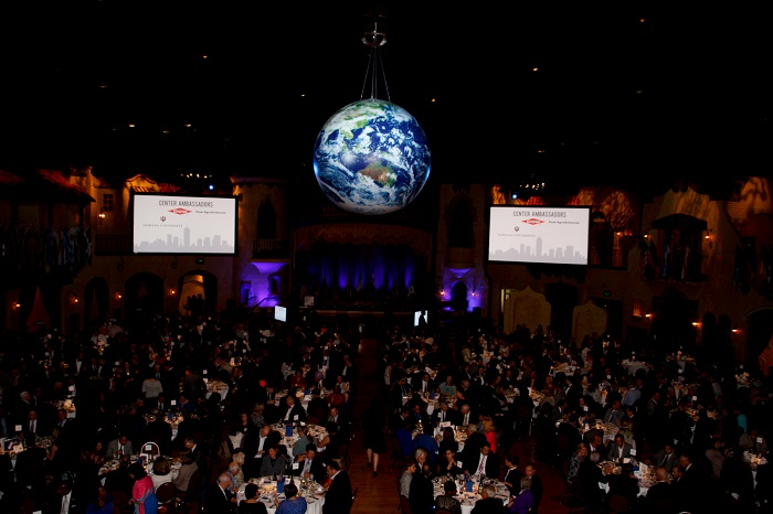The earth mingles with the twinkling stars during the 2014 International Citizen of the Year awards banquet (courtesy of The International Center)