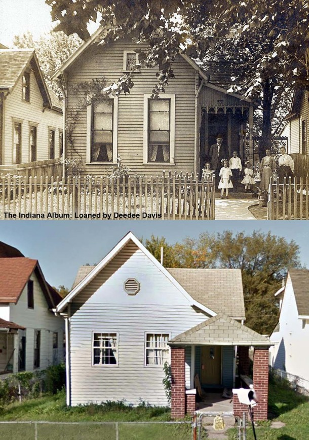 1320 Villa Street, shown in circa 1905 and 2011. (The Indiana Album: Loaned by Deedee Davis)