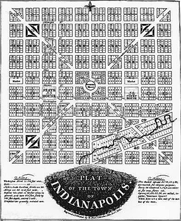 The 1821 Plat of the Town of Indianapolis is commonly referred to as the Mile Square (scan courtesy of Indiana Historical Society)
