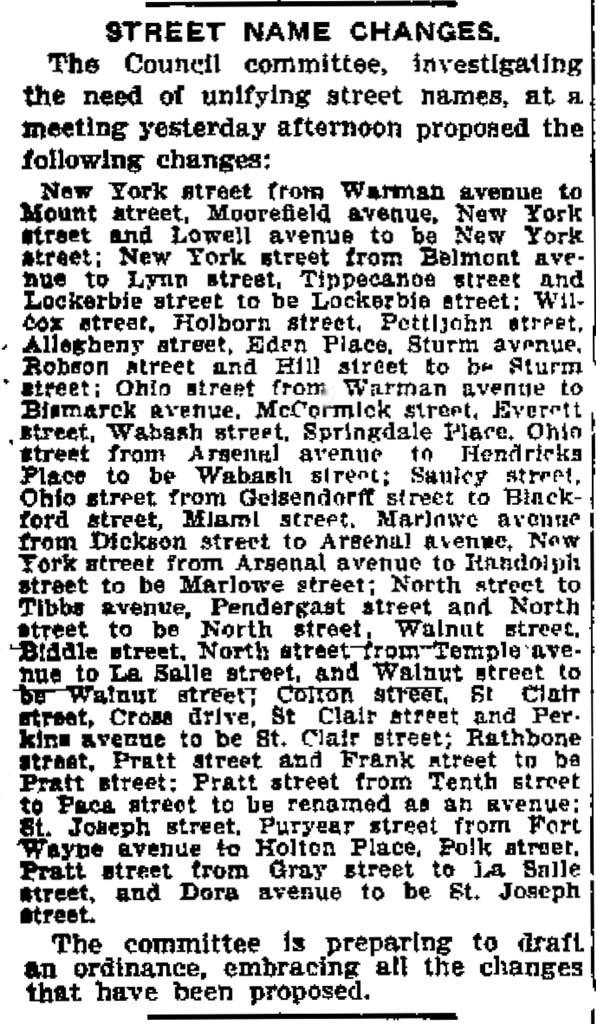 1911 ist of street name change proposed by a committee of the city council (scan courtesy of newspapers.com)