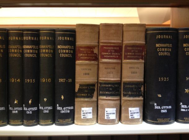 Journal of Indianapolis Common Council proceedings are available at the Indianapolis Public Library (photo courtesy of Mike Perkins, Reference Librarian, Indianapolis Public Library