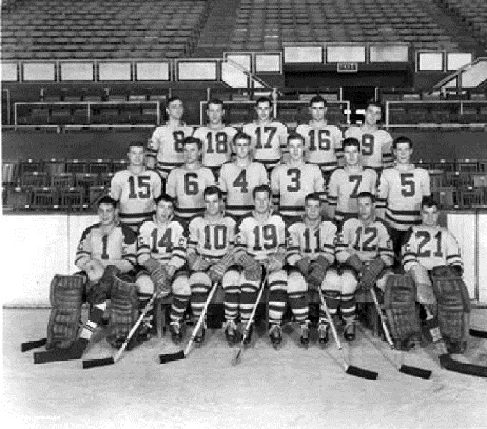 Team photo of the 1949-1950 Capitals. They would finish 32-24-11 and win the Calder Cup (Courtesy Indiana Historical Society Bass Collection #27546F-31)