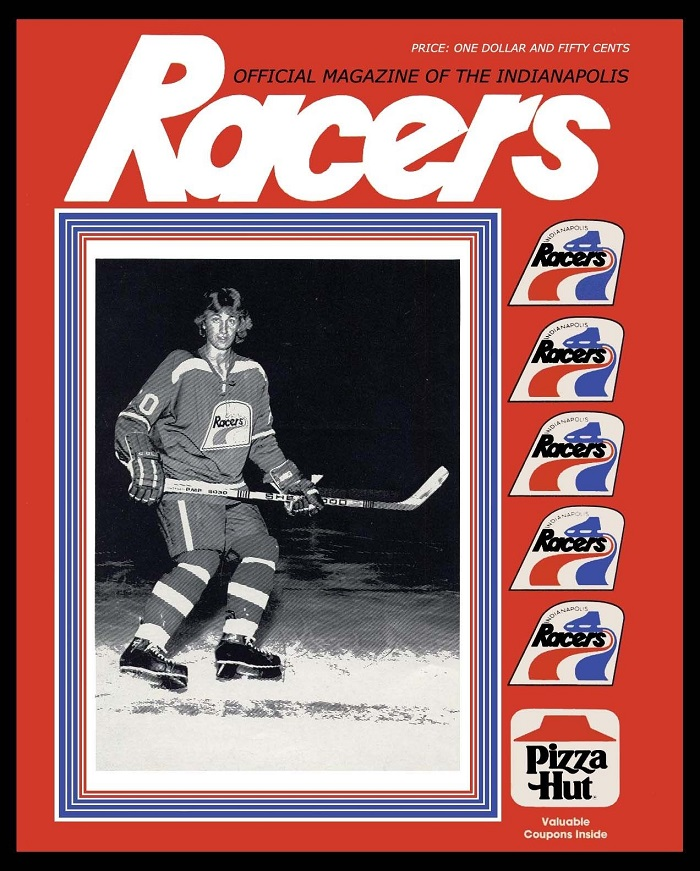 A young Wayne Gretzky graces the cover of a Racers game program (courtesy ebay)