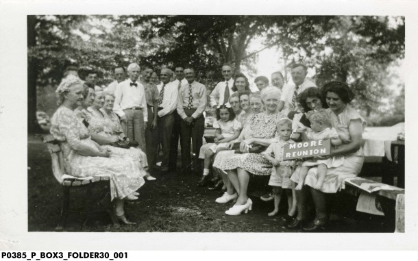 This photograph depicts the Moore Family enjoying their family reunion in Christian Park in 1940. photo: Indiana Historical Society