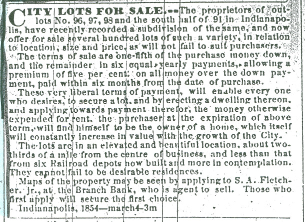 April 1, 1854 newspaper ad promoted the lots in Fletcher Place (scan from the personal collection of Georgia Garvey)