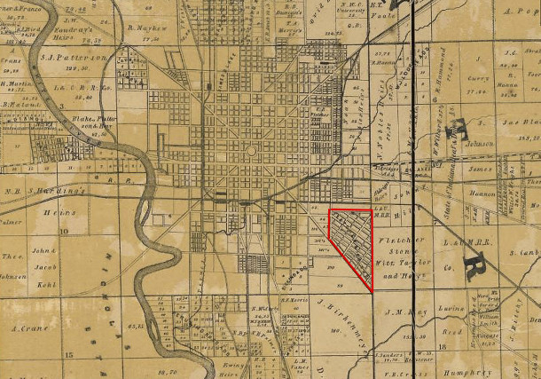 1855 Condit, Wright, & Hayden map shows the building lots Calvin Fletcher laid out in 1854 (Library of Congress, Geography and Map Division)