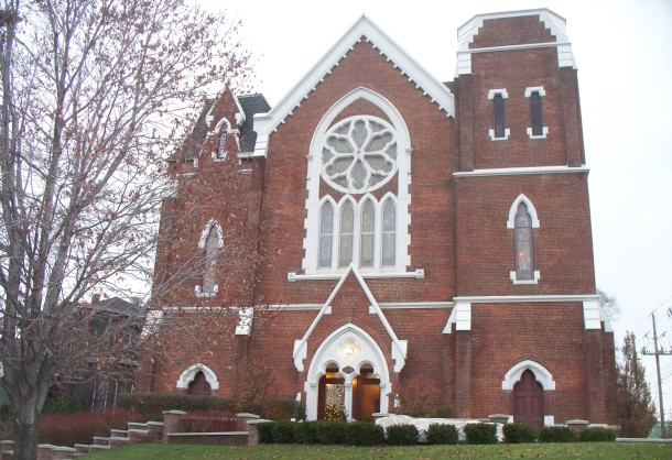 Originally Fletcher Place United Methodist Church, this gateway to the neighborhood is now condominiums (2014 photo by Sharon Butsch Freeland)