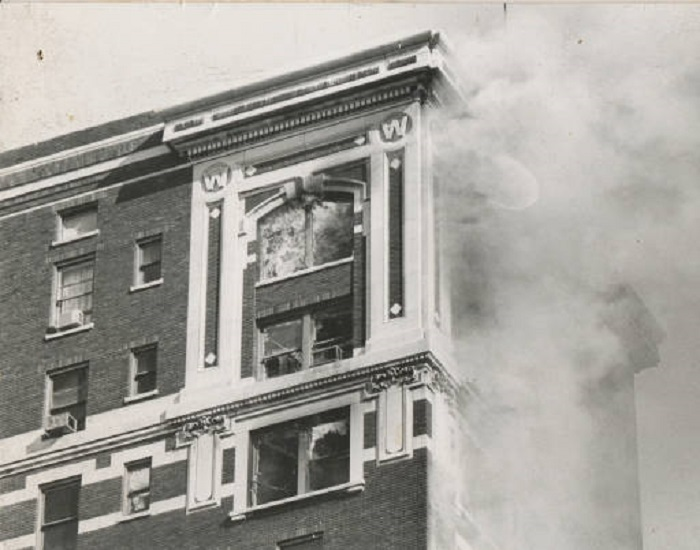 One of the most devastating days in the history of downtown Indianapolis occurred on November 5th, 1973 when a fire consumed the vacant Grant Building and neighboring Thomas building. The fire caused heavy damage to the upper floors of the then Washington Apartments. The site of the fire is still an empty lot located between the Indianapolis Business Journal and the Barnes and Thornburg building (courtesy Indianapolis Marion County Public Library)