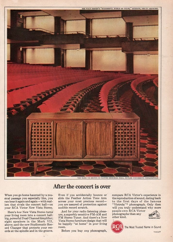 RCA utilized the interior of Clowes Hall to demonstrate the theater-like quality of the stereos and televisions (courtesy ebay)
