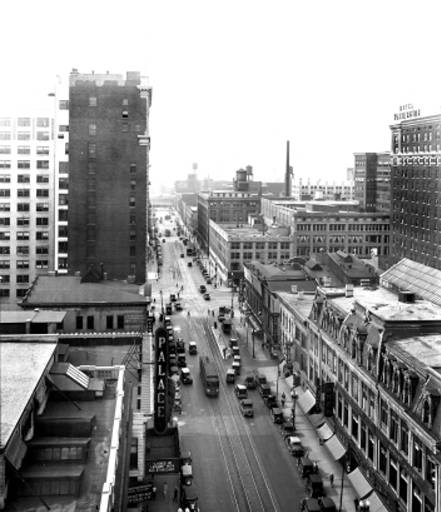 An arial view of Pennsylvania Street shows the Palace marquee. The building to the north served as the federal courthouse until 1905. The building accross the street is the When Store. It would stand until 1995 when the then Ober Building was demolished to make way for yet another concrete parking garage (courtes Bass Photo Co. Collection, Indiana Historical Society)