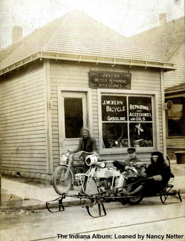 James W Kern's Bicycle Repair Shop, ca. 1910s (The Indiana Album: Loaned by Nancy Netter)