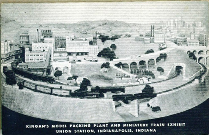 This is a model of the Kingan meat packing plant near Blackford and Maryland Streets from 1862- 1966. This industrial site was once the location of Wyant's tavern, home of the first New Year's celebration in Indianapolis (courtesy ebay)