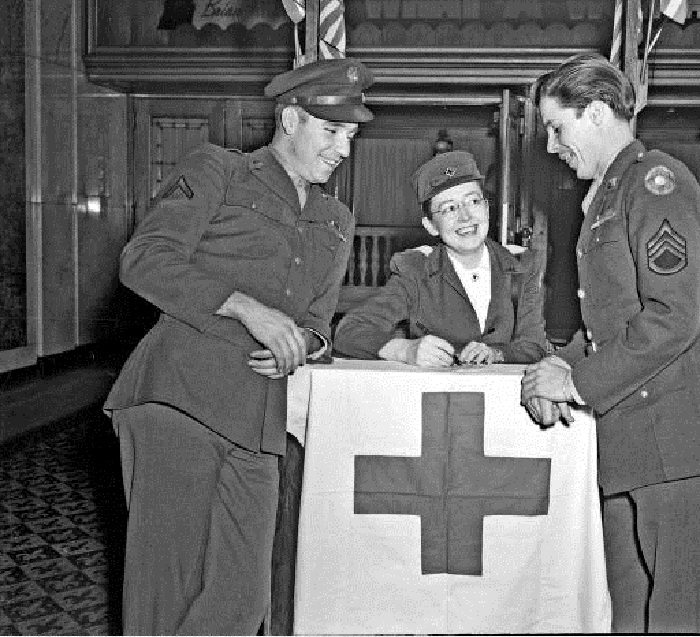 A Red Cross station has been set up in the lobby of the Lowes Theater during World War II (Courtesy Bass Photo Co. Collection, Indiana Historical Society)