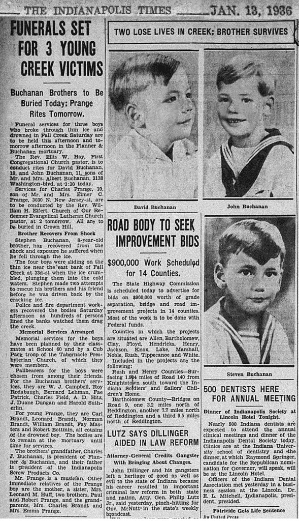 The Indianapolis Times reported on details of the boys' funerals (scan courtesy of the Indianapolis Public Library)