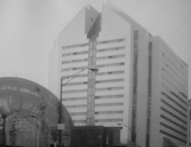 The modern Embassy Suites hotel sits on the former site of The Claypool (Courtesy Indiana State Library)