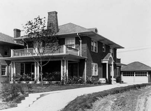 1922 photo of the James M. Drake House at 3637 N. Pennsylvania Street (W. H. Bass Photo Company Collection, Indiana Historical Society)
