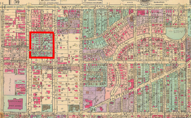 Union Park Place was carved out of the larger addition known as Washington Park (1929 Baist map courtesy of IUPUI Digital Archives)