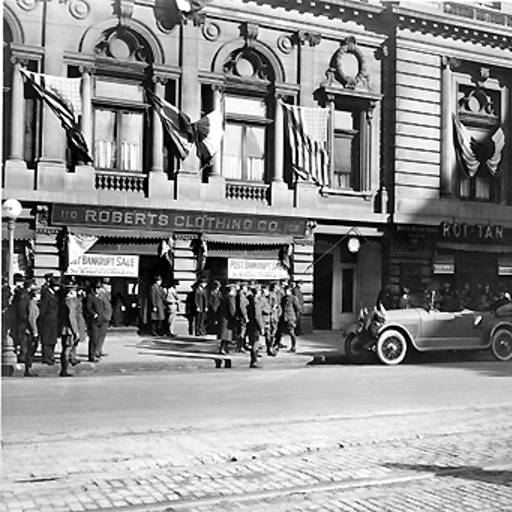 This street scene shows businesses at the the Claypool in 1921 (Courtesy Bass Photo Company Collection, Indiana Historical Society)