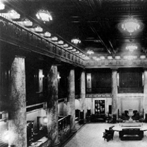 The lobby of the Claypool Hotel was said to be the largest in the country although few facts can be found to back that claim up (courtesy Bass Photo Company Collection, Indiana State Museum)