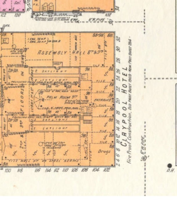 This Sanborn Map from 1915 shows the storefronts surrounding the Claypool Hotel (Courtesy Indiana University)