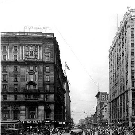 This shows the bustling street life were the Arts Garden now straddles the intersection (courtesy Bass Photo Company Collection, Indiana Historical Society)
