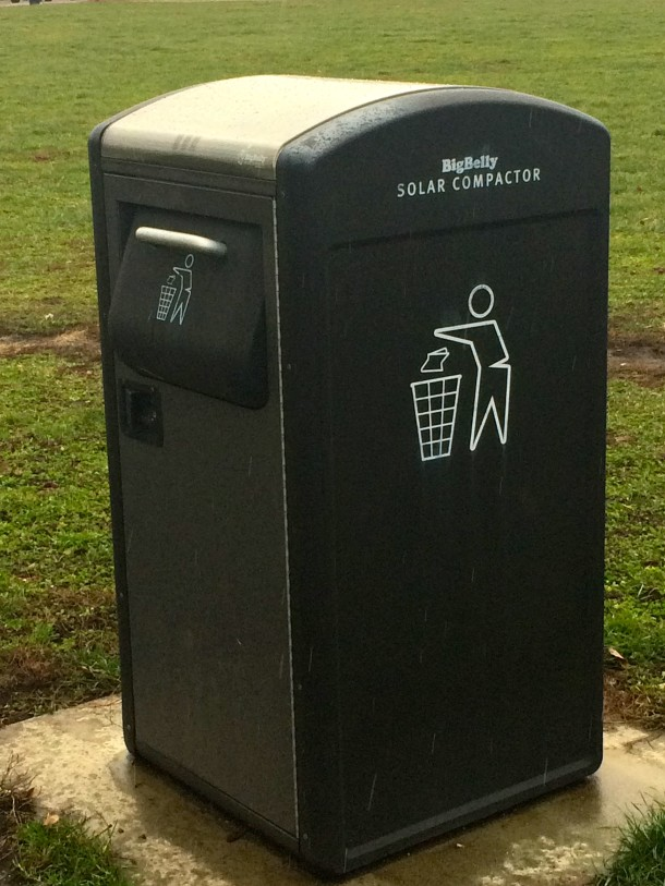 Hawthorne Park received some upgrades in 2013, including these solar trash compactors.