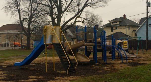 Hawthorne Park has a playground, picnic shelters, and basketball courts.