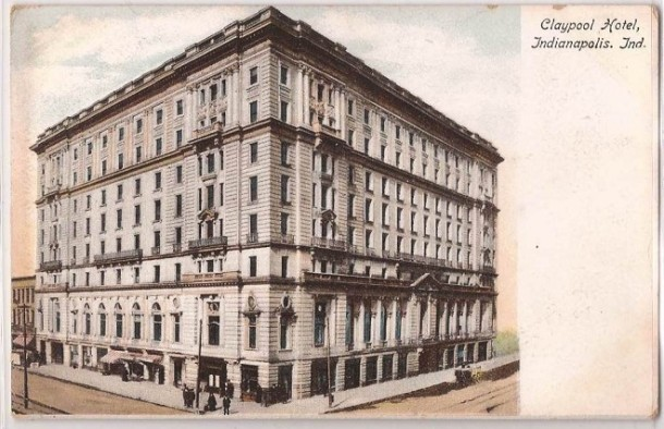 This early postcard shows the Claypool sporting clean limestone and surrounded by dirt streets (courtesy ebay)