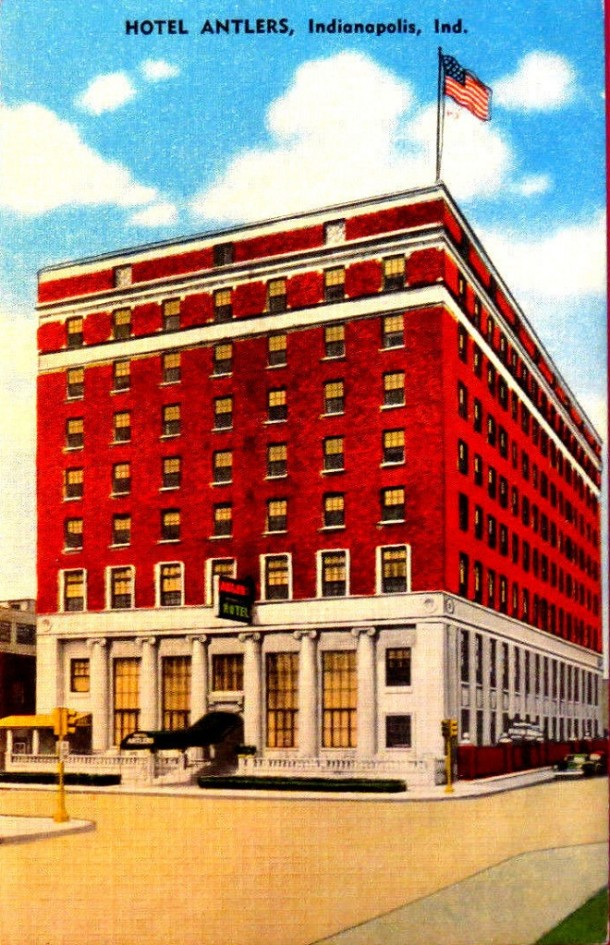 Although not nearly as grand as better known hotels at the time, The Hotel Antlers had a towering presence over Meridian Street (Courtesy eBay)