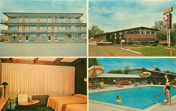 A postcard showing the final eventual final location at the Carmel Motel on U.S. 31 (courtesy ebay)